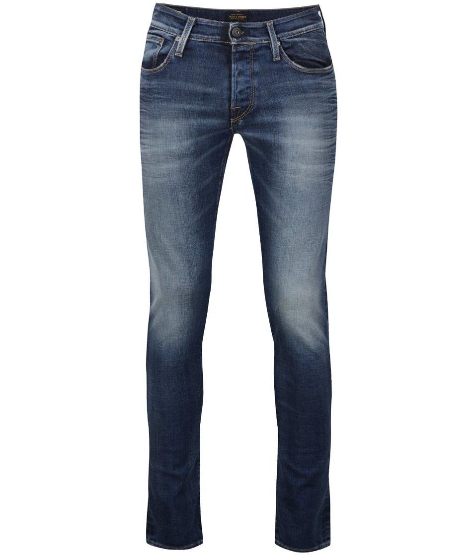 Modré pánské džíny s vyšisovaným efektem Jack & Jones