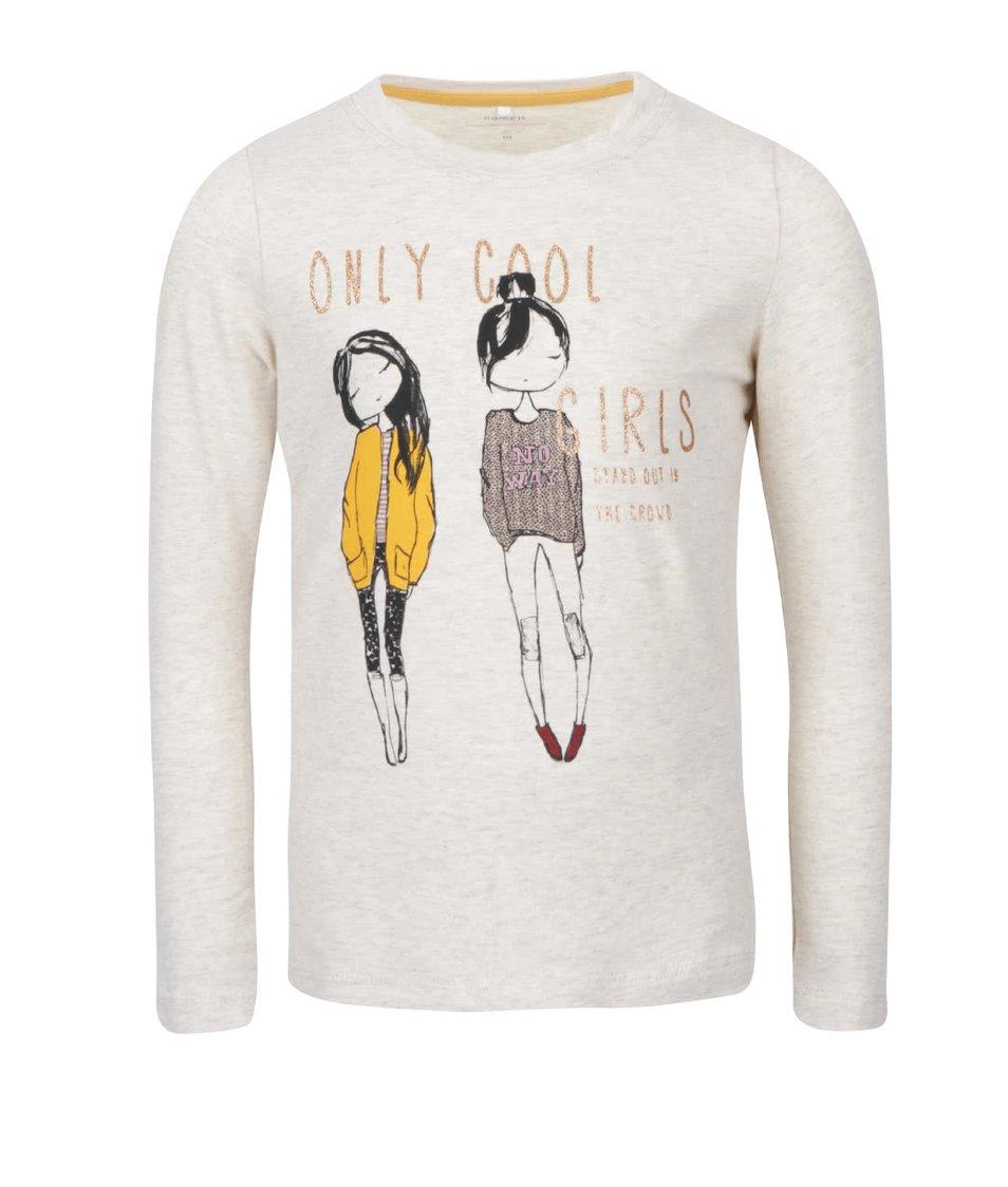 Krémové holčičí tričko s dlouhým rukávem a potiskem name it Katty