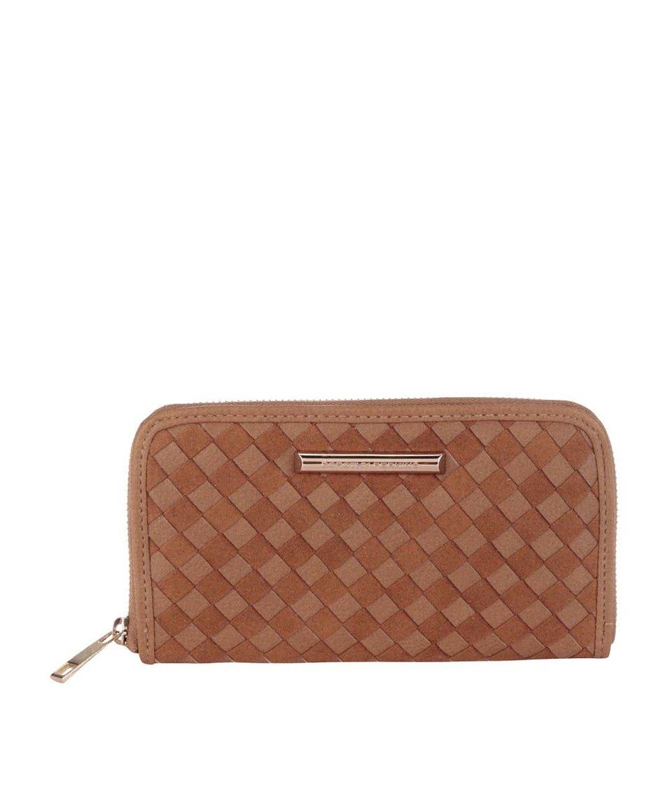 Světle hnědá koženková peněženka s proplétaným vzorem Dorothy Perkins