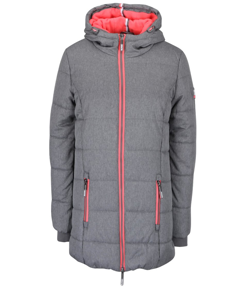 Šedý delší dámský prošívaný kabát s růžovými detaily Superdry
