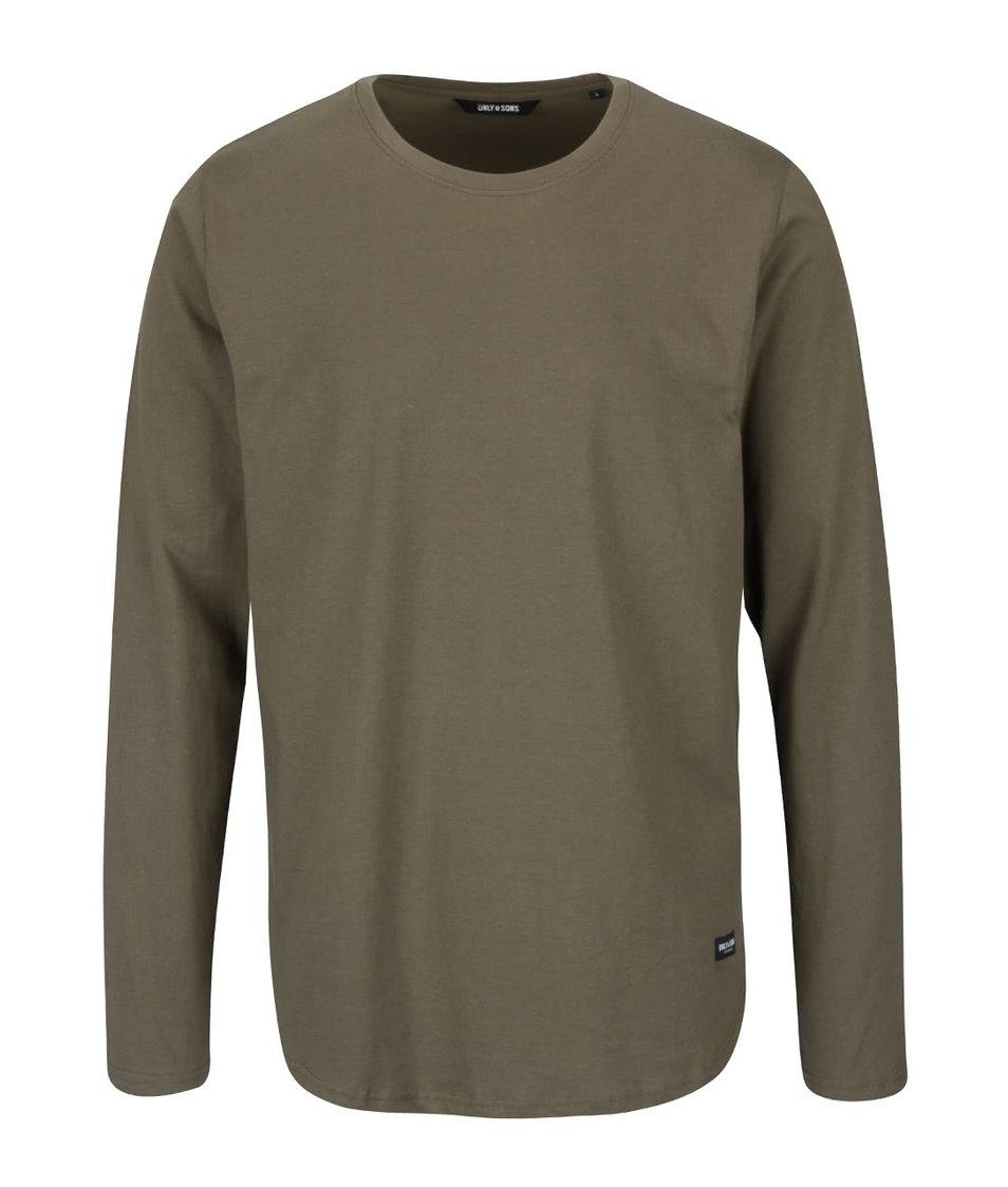 Khaki triko s dlouhým rukávem ONLY & SONS Matt