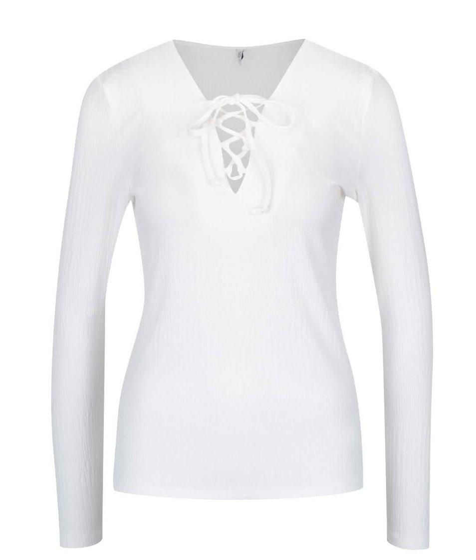 Krémové žebrované tričko se šněrováním v dekoltu ONLY Hanna