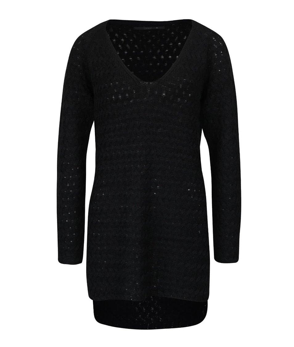 Černý svetr s prodlouženou zadní délkou ONLY Lima