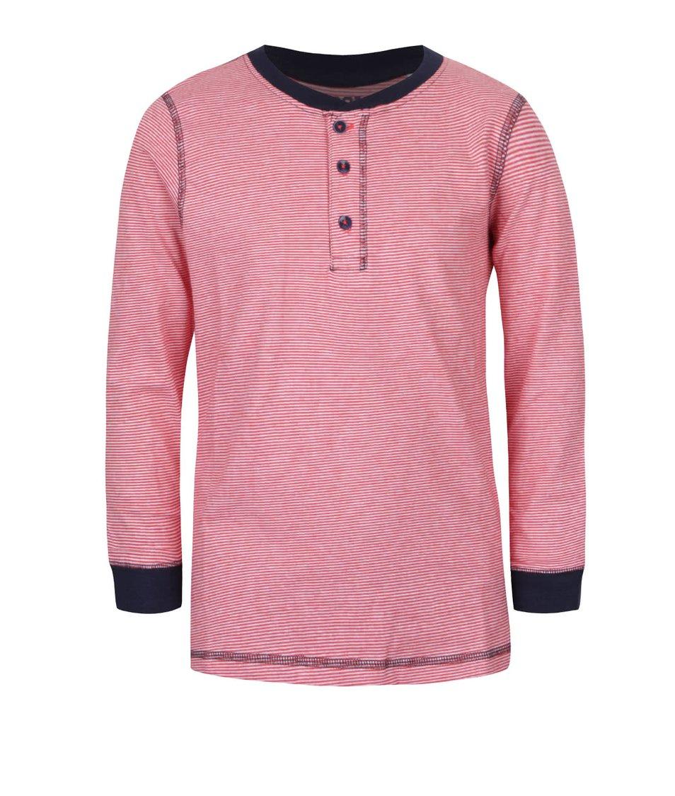 Červené klučičí pruhované triko s knoflíky a dlouhým rukávem 5.10.15.