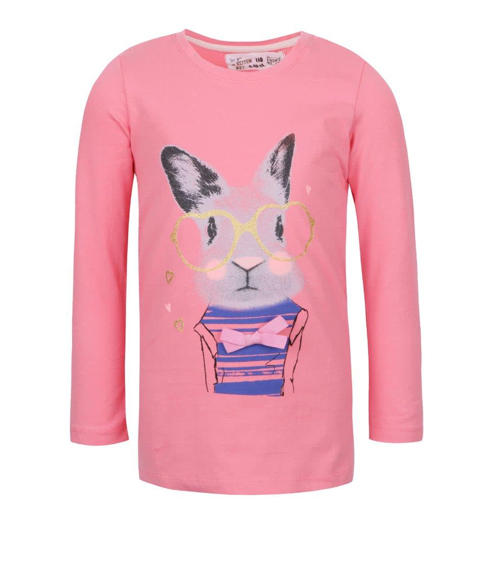 Růžové holčičí tričko s potiskem a dlouhým rukávem 5.10.15.