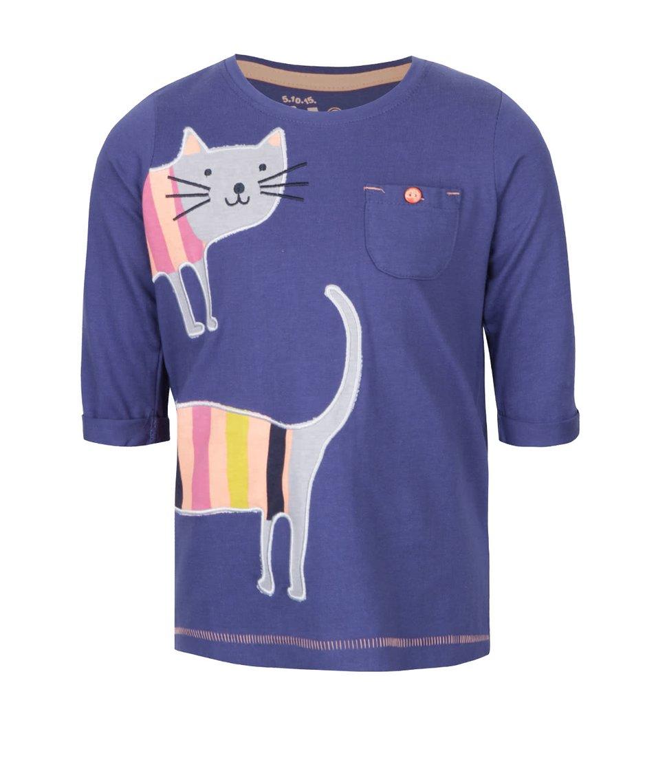 Tmavě modré holčičí tričko s kočičkou 5.10.15.