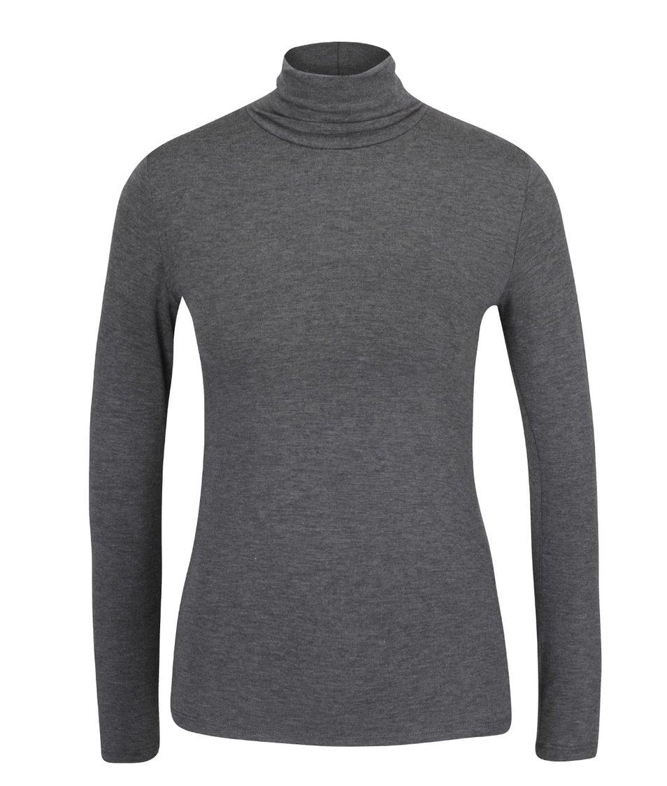 Tmavě šedé žíhané tričko s rolákem a dlouhým rukávem ZOOT