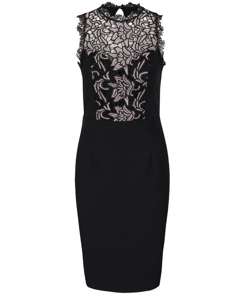 Krémovo-černé šaty s krajkovanými detaily Little Mistress
