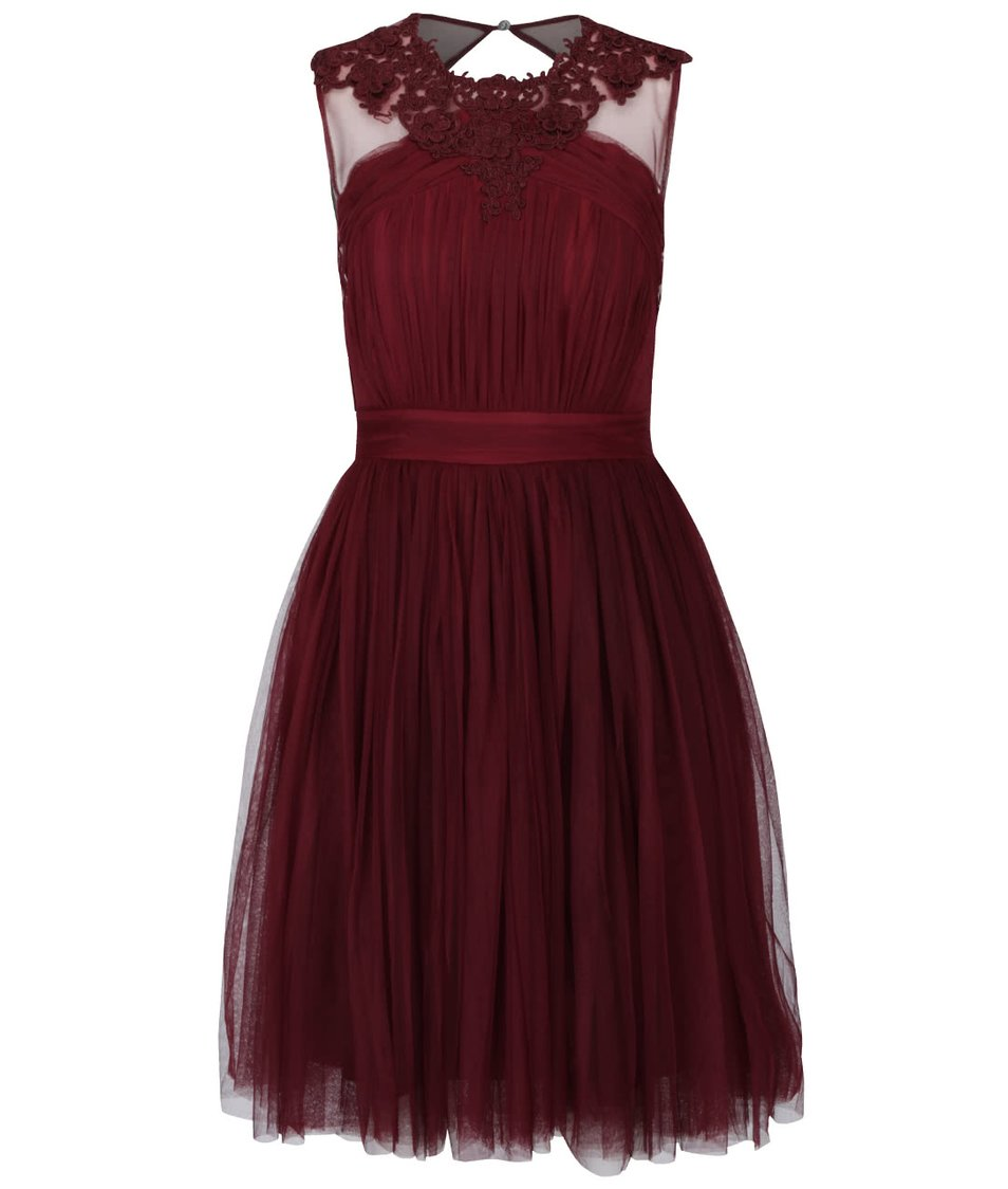 Vínové tylové šaty s krajkovanými detaily Little Mistress