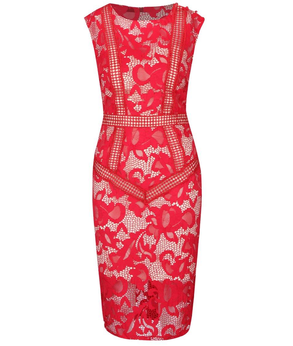 Krémovo-červené krajkované šaty Little Mistress