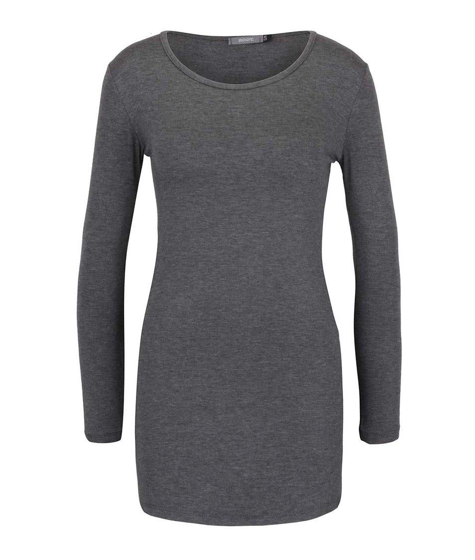 Tmavě šedé žíhané delší tričko s dlouhým rukávem ZOOT