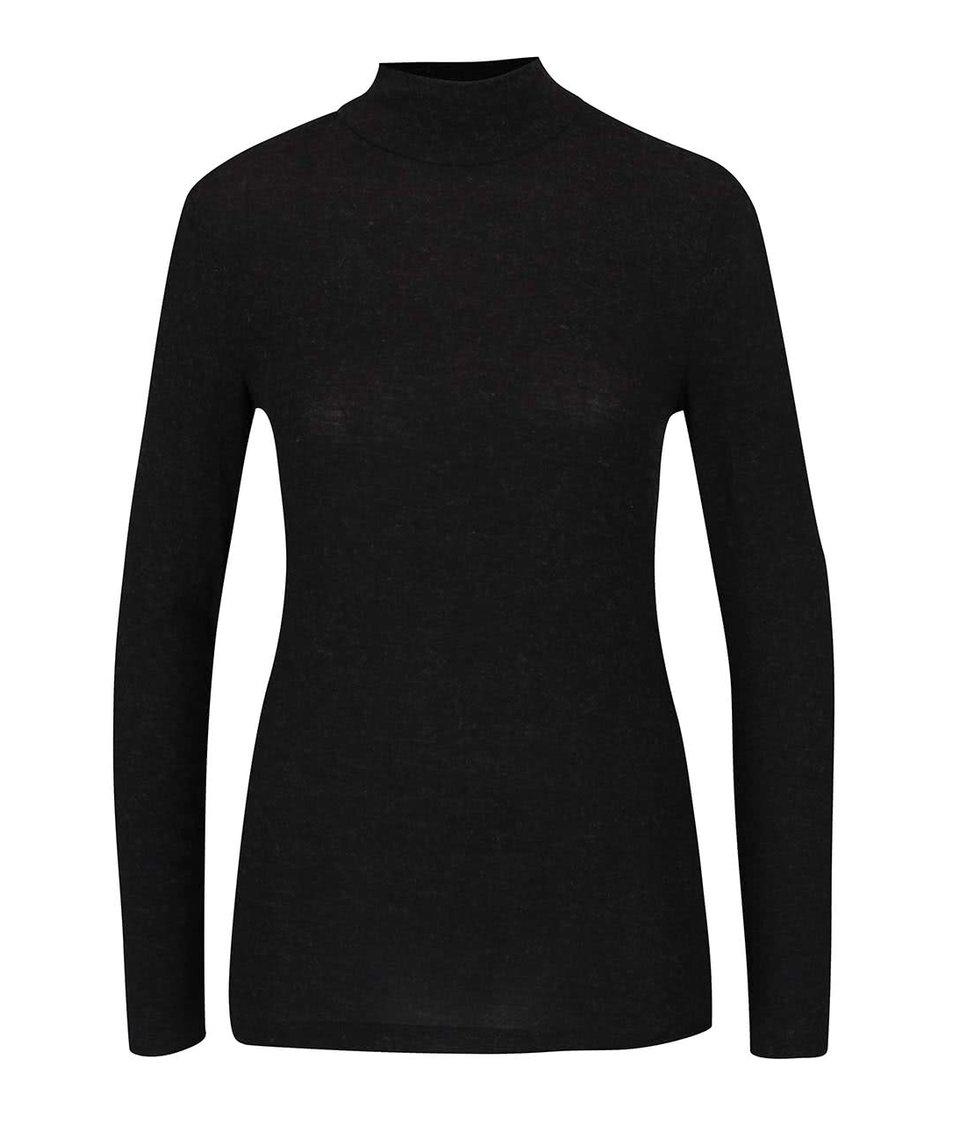 Černé žíhané tričko se stojáčkem a dlouhým rukávem ONLY Yasha