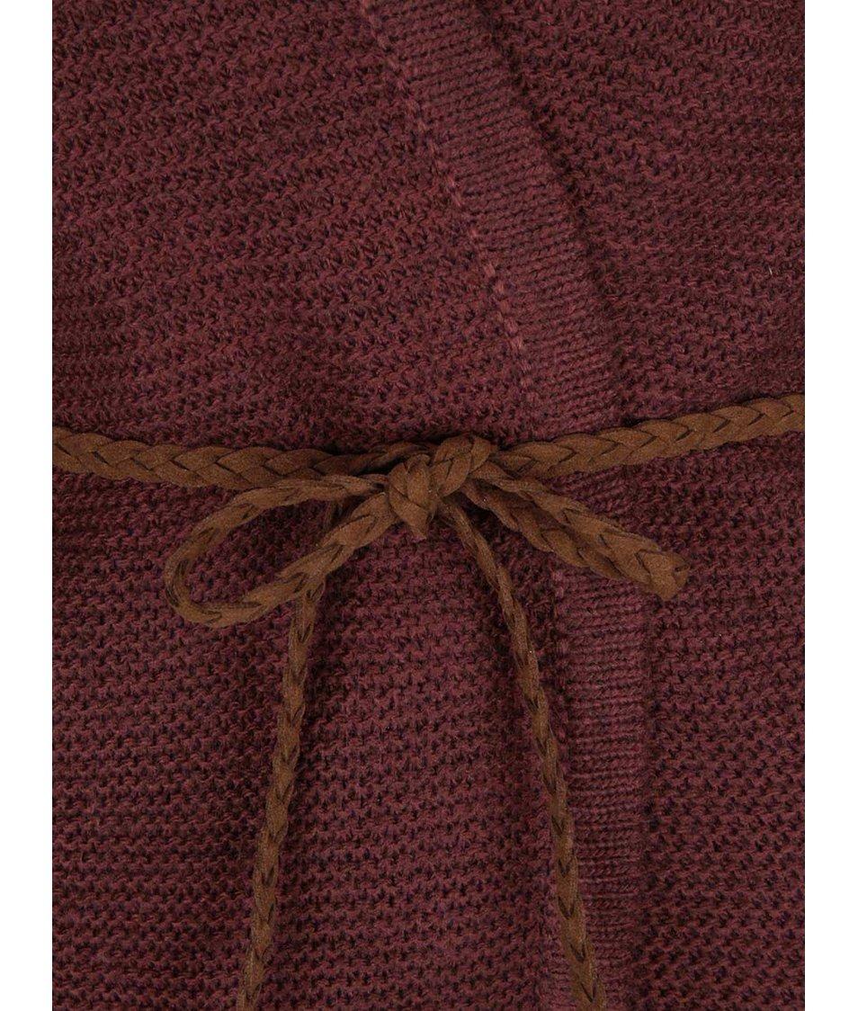 Vínový cardigan s páskem Vero Moda Joya  LS Belt