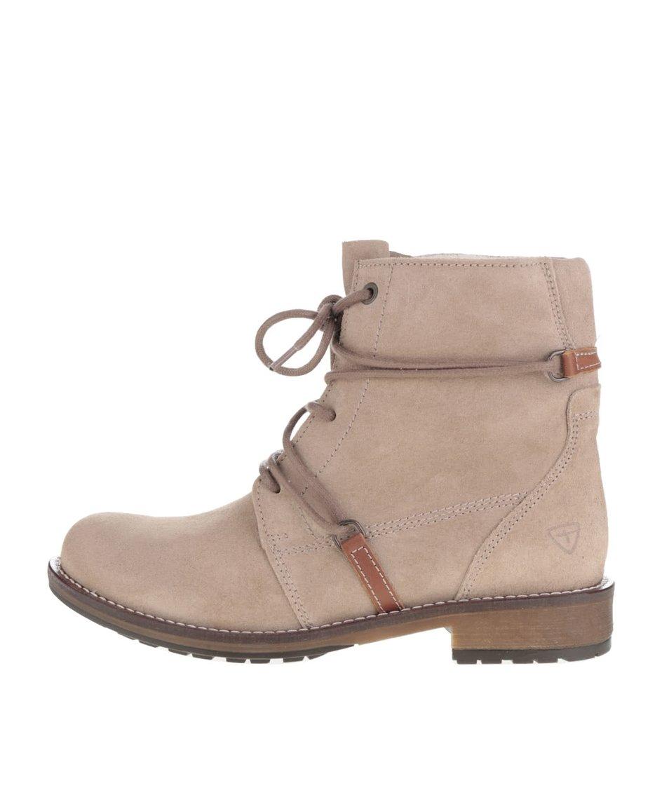 Béžové semišové kotníkové boty s neobvyklým šněrováním Tamaris