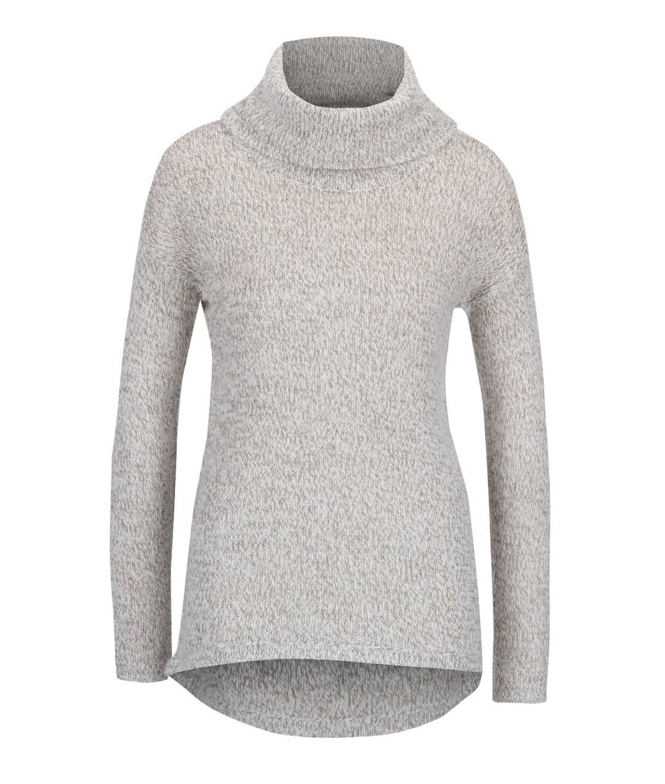 Béžový žíhaný svetr s rolákem Vero Moda Jive