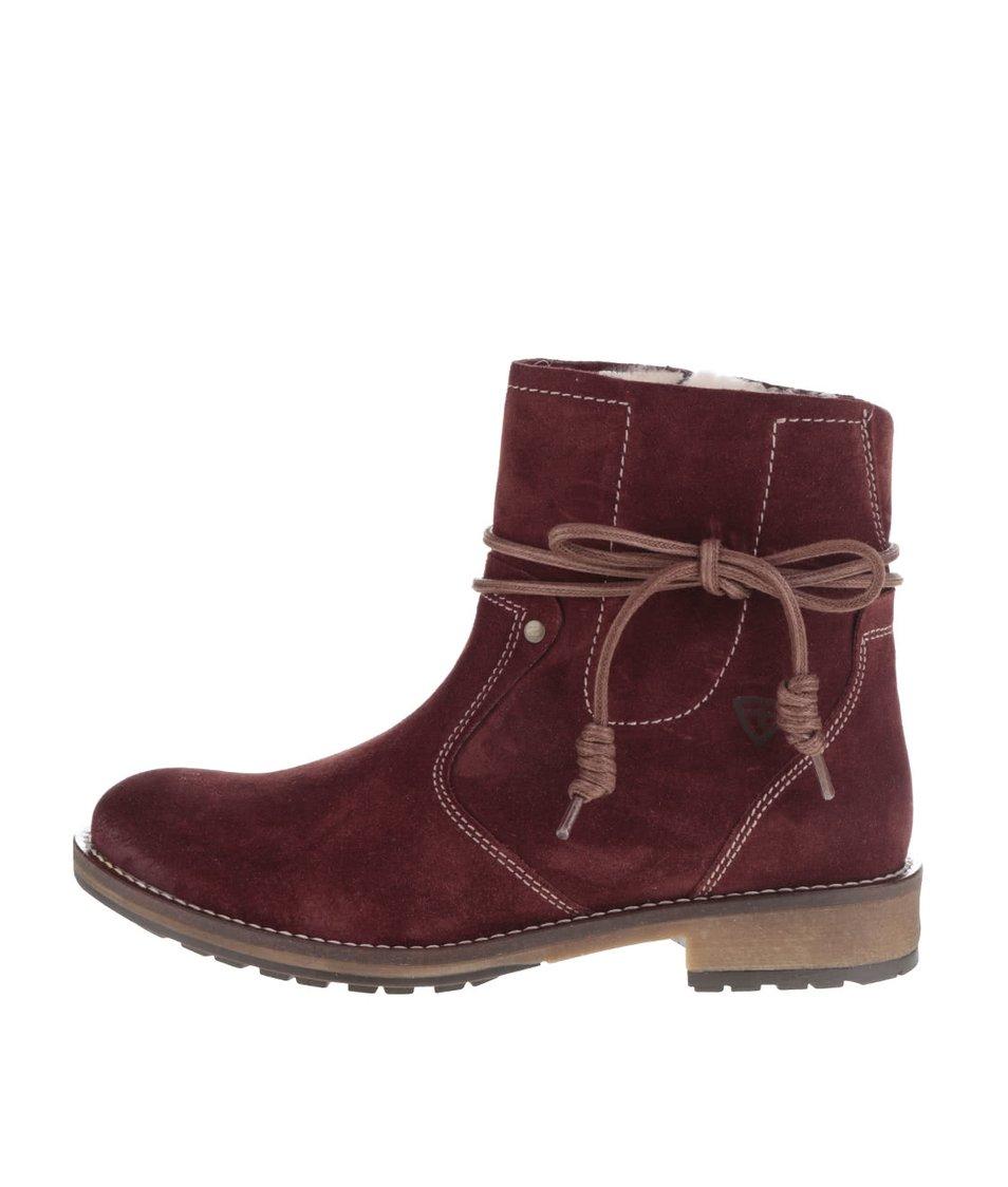 Tmavě hnědé semišové kotníkové boty s ozdobnou šňůrkou Tamaris