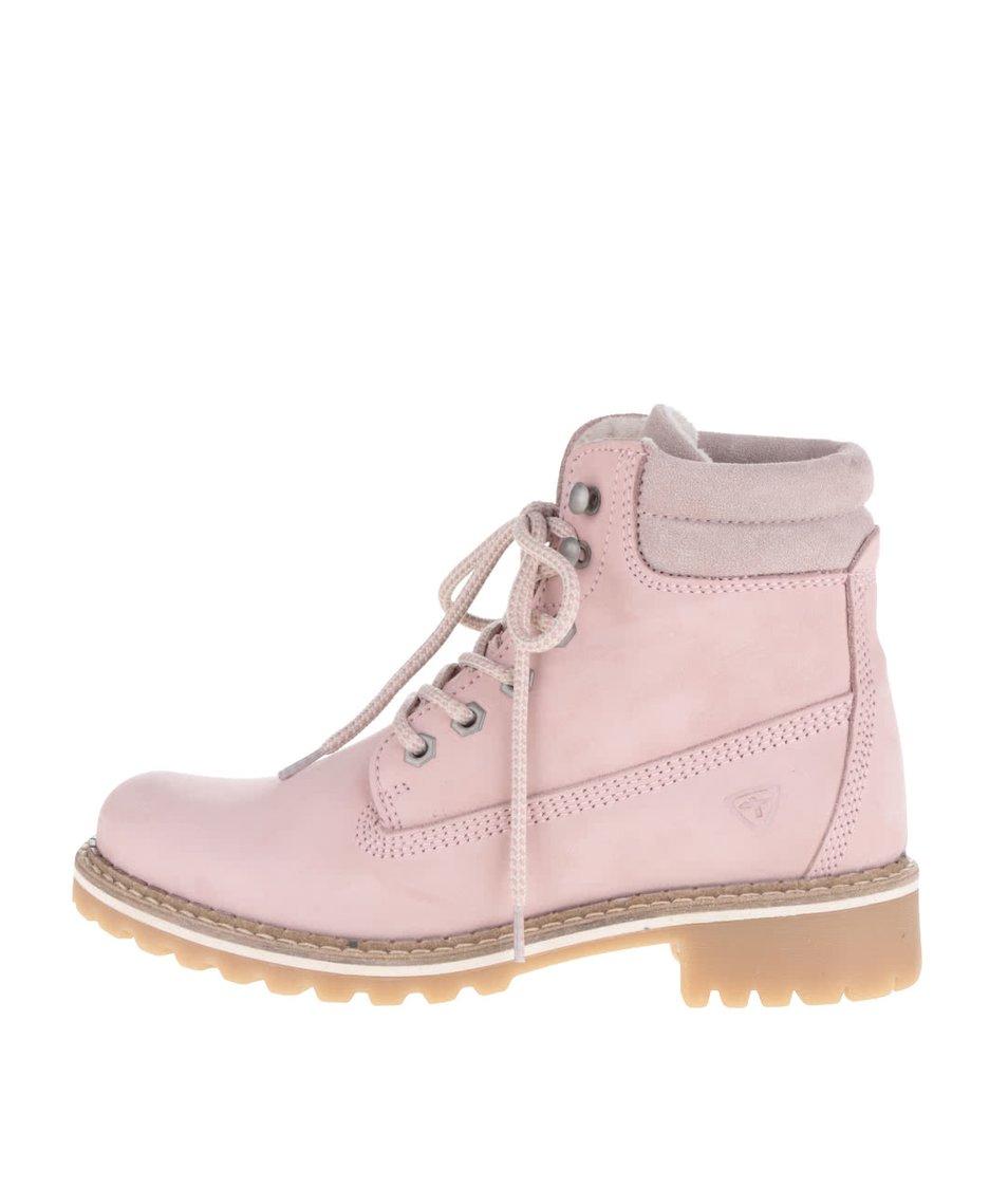 Světle růžové semišové kotníkové boty Tamaris