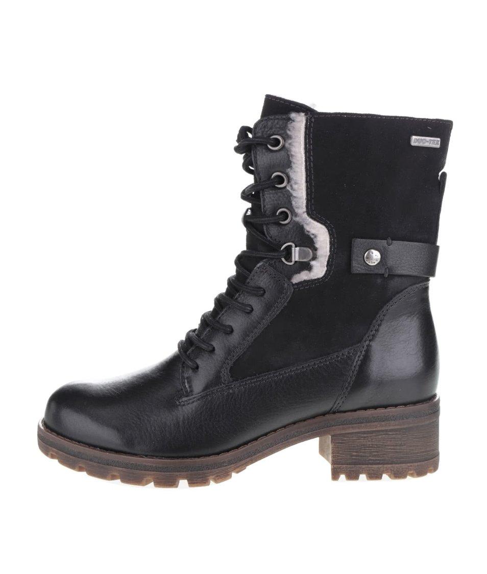 Černé kotníkové kožené boty na nízkém podpatku Tamaris