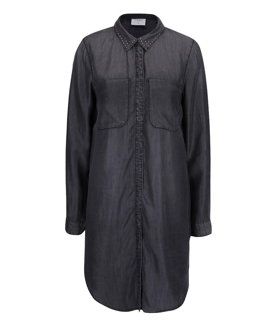 Tmavě šedá delší košile s ozdobnými cvočky Vero Moda Sanne