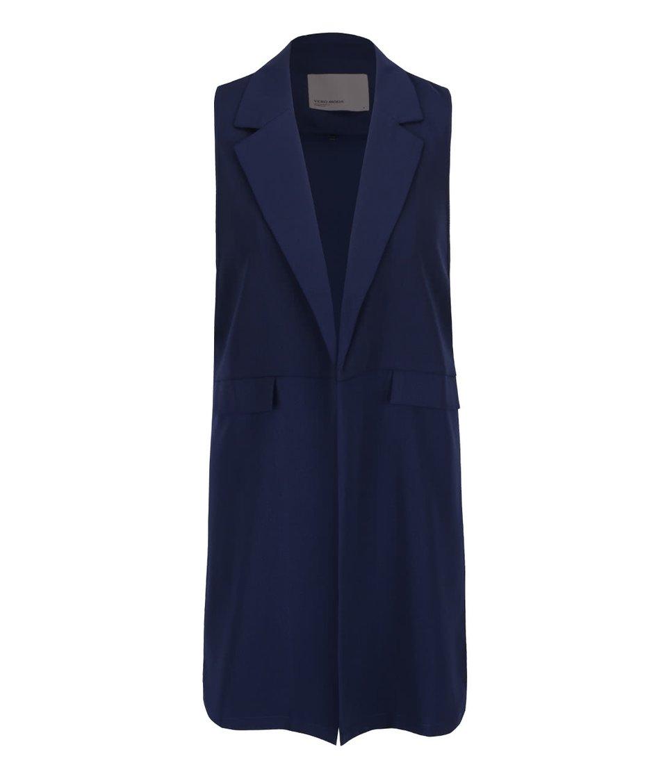 Tmavě modrá dlouhá vesta Vero Moda Anna