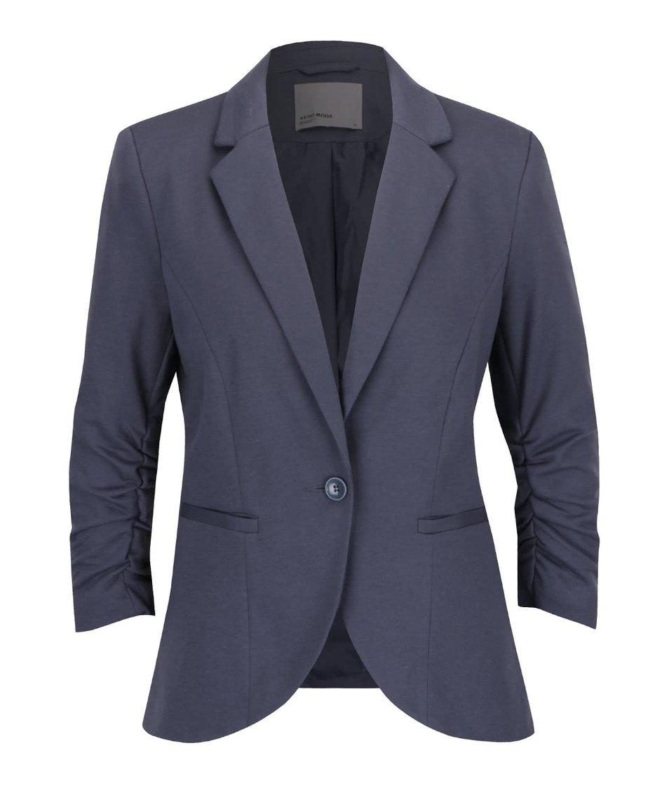Šedomodré sako s nabíranými rukávy Vero Moda Sparkle
