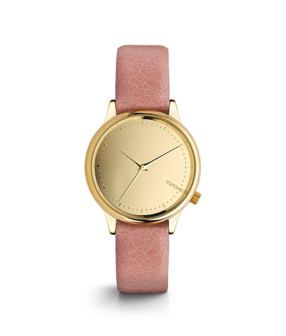 Růžové dámské hodinky s ciferníkem ve zlaté barvě Komono Estelle Mirror