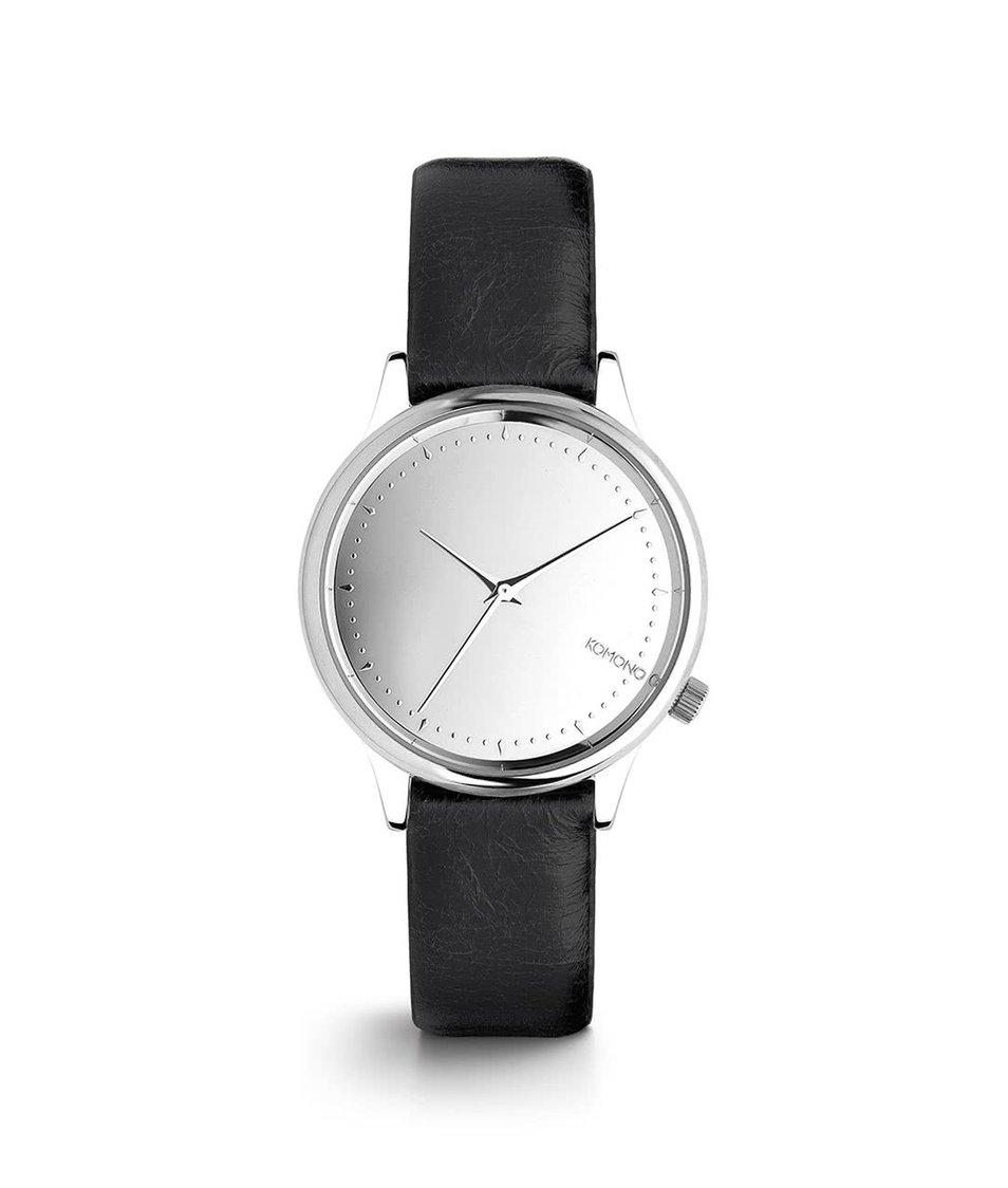 Černé dámské hodinky s ciferníkem ve stříbrné barvě Komono Estelle Mirror