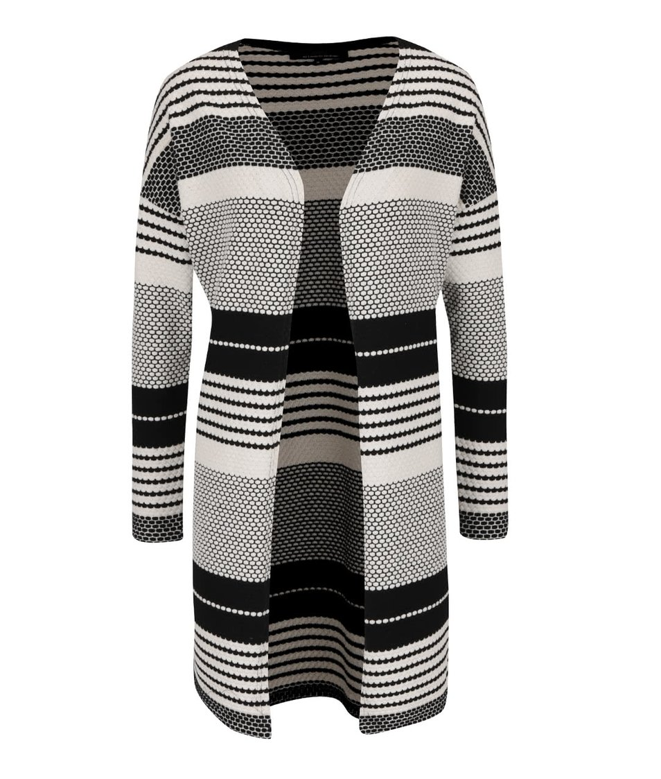 Černo-krémový vzorovaný dlouhý cardigan ONLY Pearl