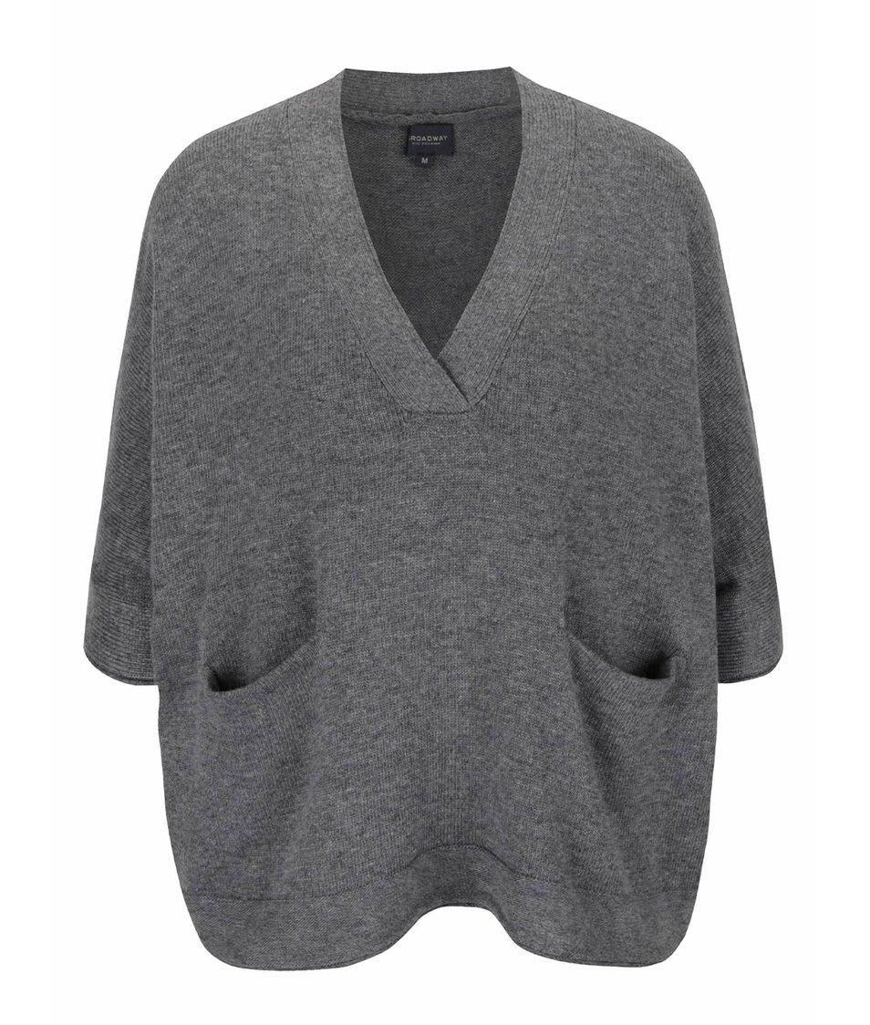 Šedý dámský oversize svetr s netopýřími rukávy Broadway Rhian
