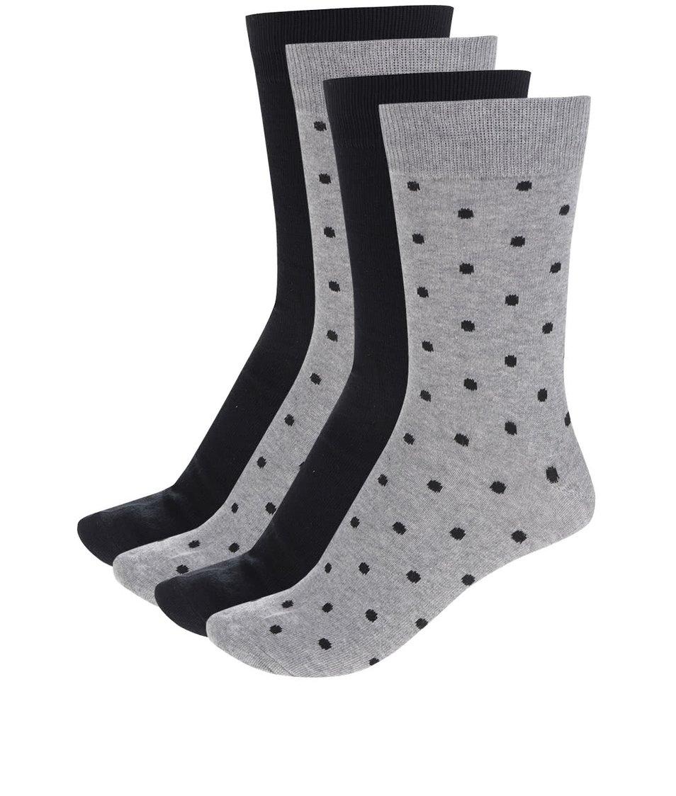 Sada čtyř párů černých a šedých ponožek s jemným vzorem Jack & Jones Magnus
