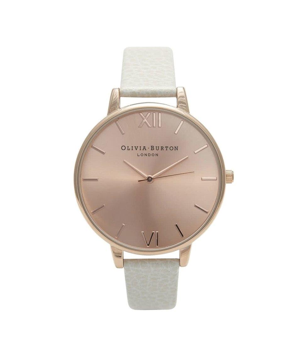 Bílé hodinky s ciferníkem v růžovozlaté barvě Olivia Burton