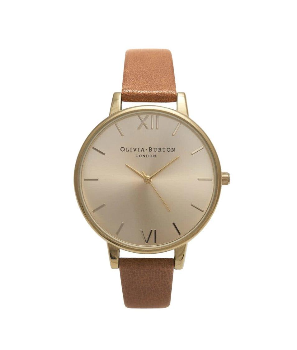 Světle hnědé hodinky s ciferníkem ve zlaté barvě Olivia Burton