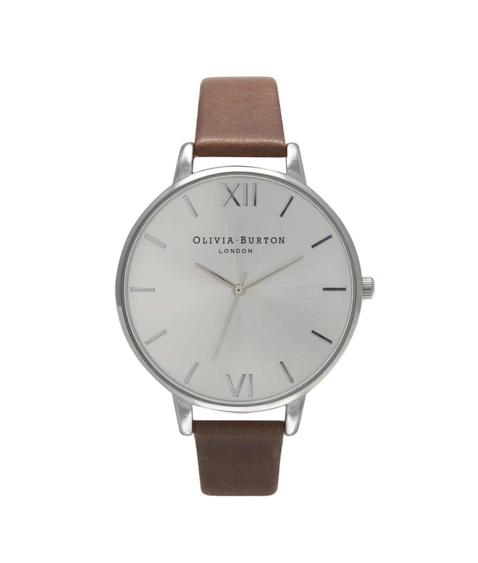 Hnědé hodinky s ciferníkem ve stříbrné barvě Olivia Burton