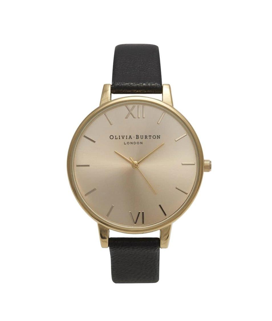 Černé hodinky s ciferníkem ve zlaté barvě Olivia Burton