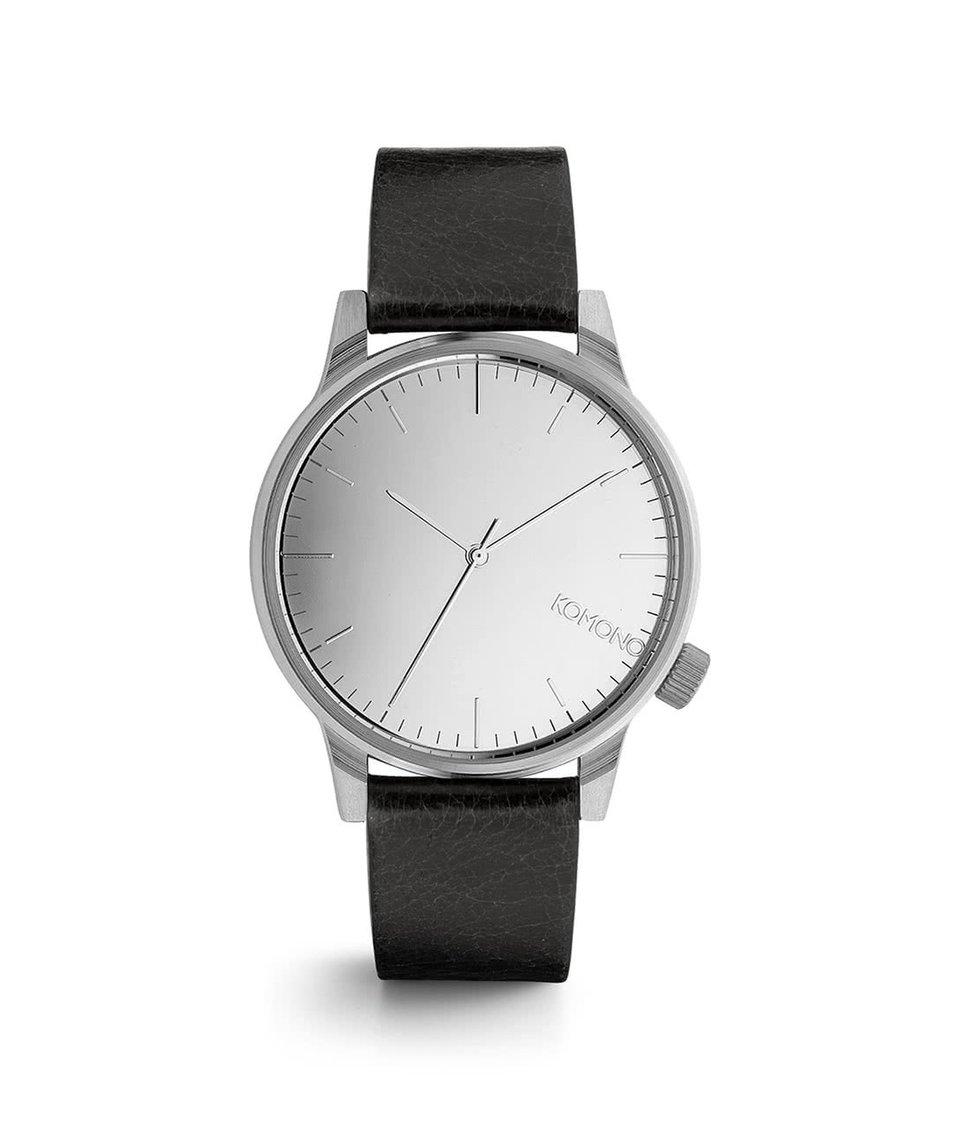 Černé pánské hodinky s ciferníkem ve stříbrné barvě Komono Winston Mirror