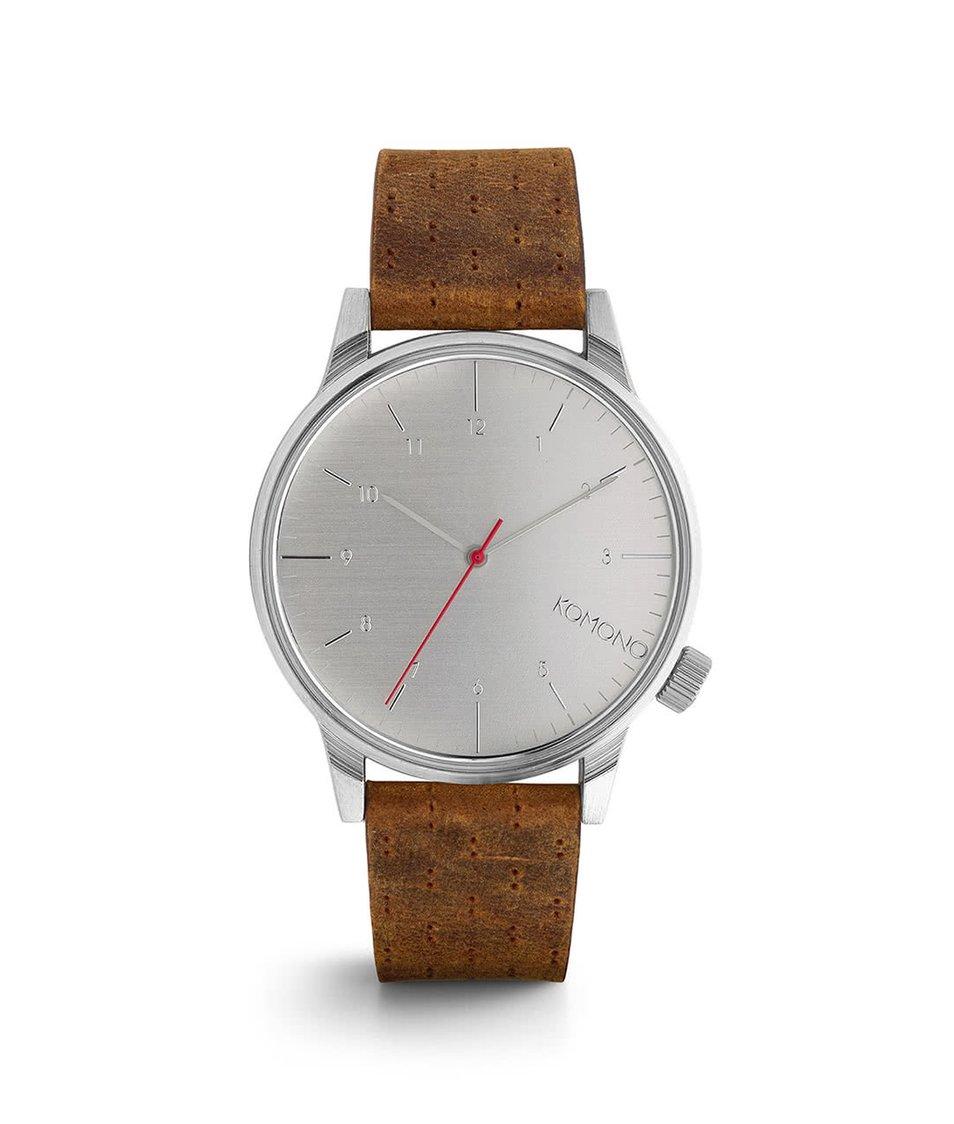 Hnědé pánské hodinky s ciferníkem ve stříbrné barvě Komono Winston