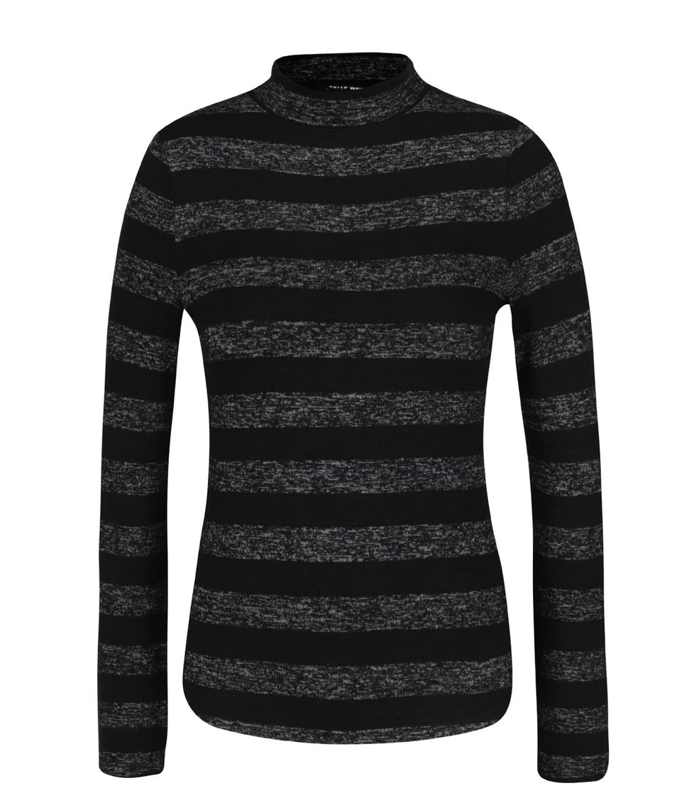 Černo-šedé tričko s rolákem TALLY WEiJL