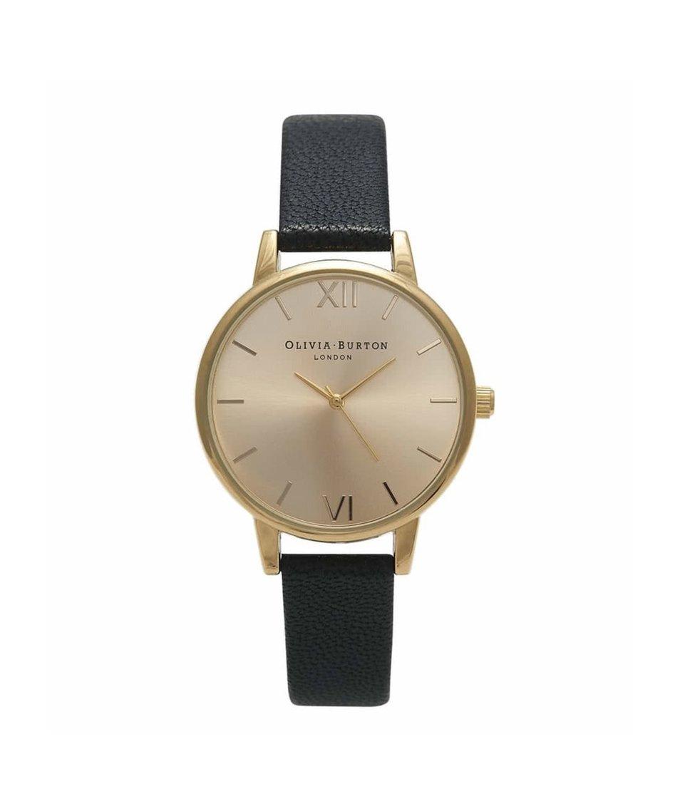Černé hodinky s menším ciferníkem ve zlaté barvě Olivia Burton