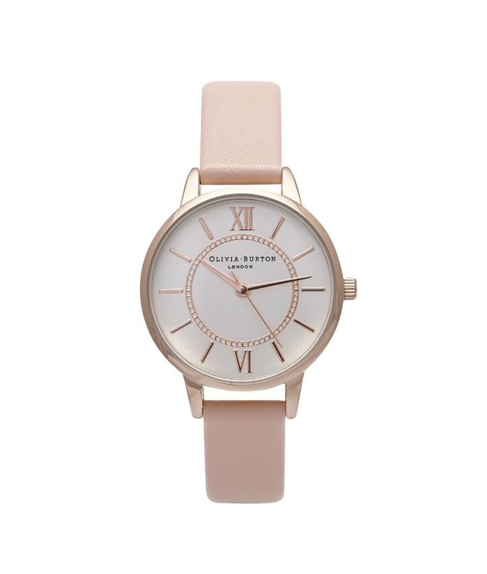 Růžové hodinky s menším ciferníkem v růžovozlaté barvě Olivia Burton