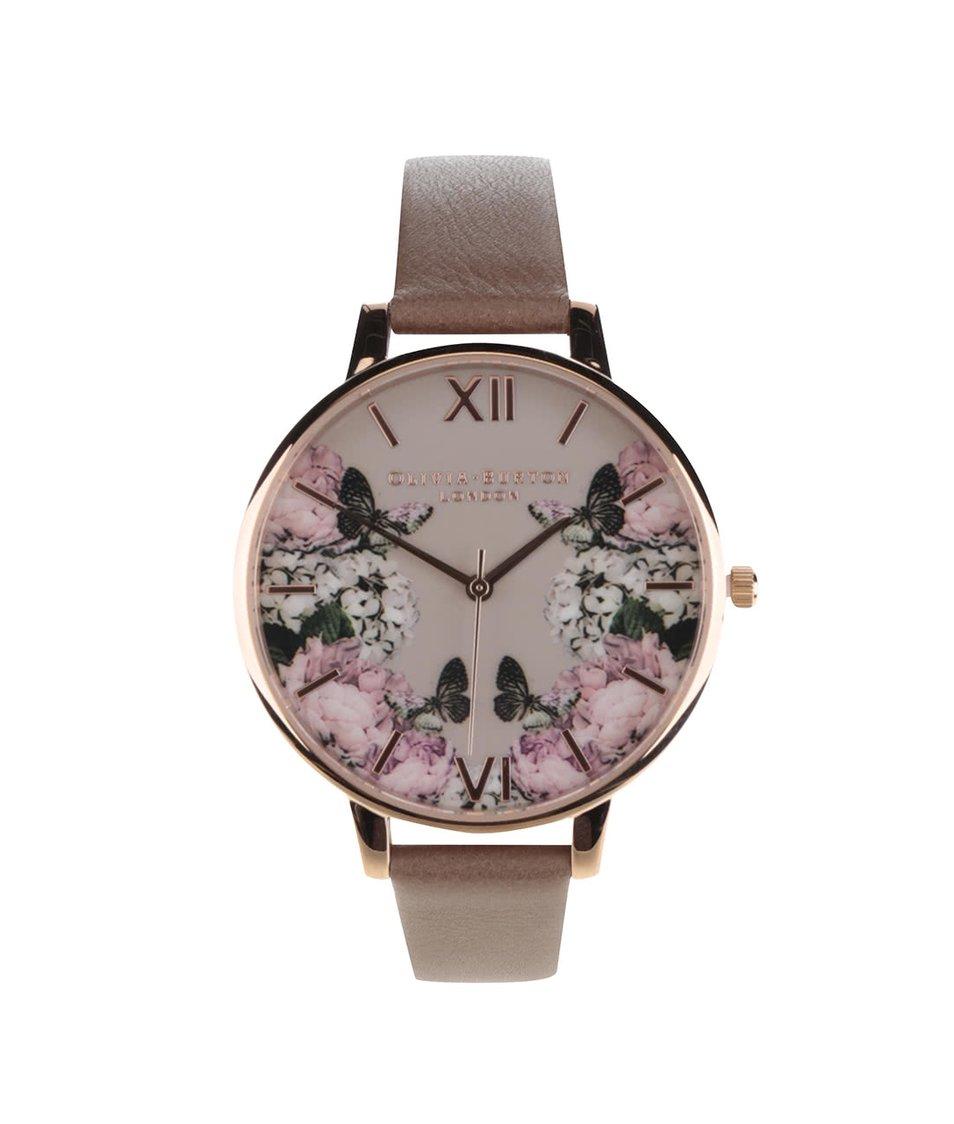 Hnědé hodinky s květovaným ciferníkem Olivia Burton