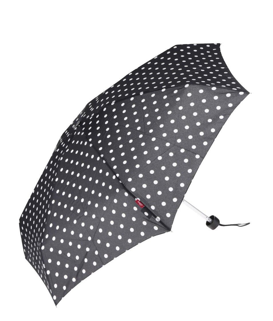 Černý dámský deštník s bílými puntíky s.Oliver