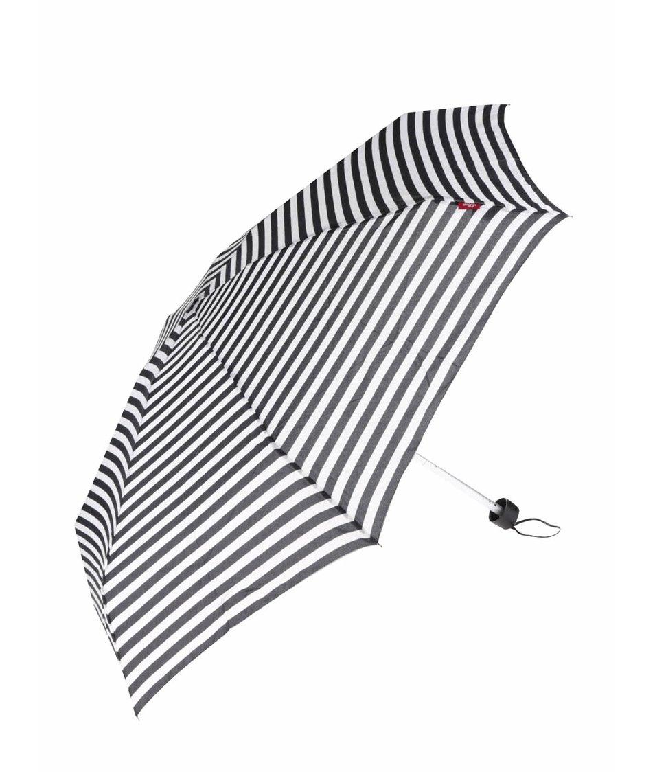 Bílo-černý dámský pruhovaný deštník s.Oliver