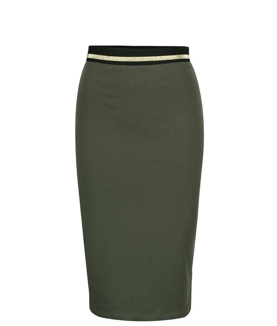 Khaki přiléhavá sukně s pružnou gumou v pase ZOOT