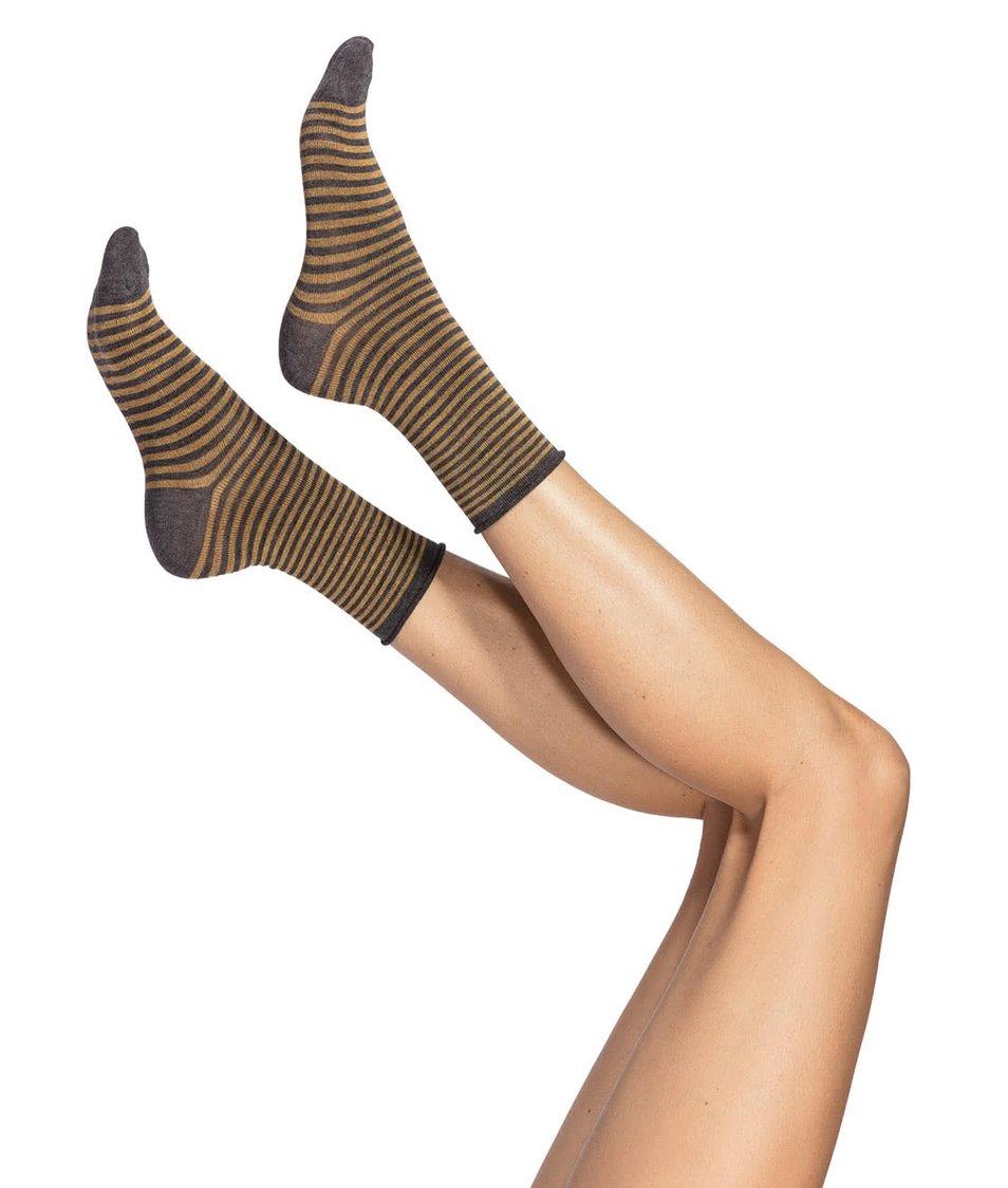 Šedo-hořčicové pruhované ponožky Oroblu Darling