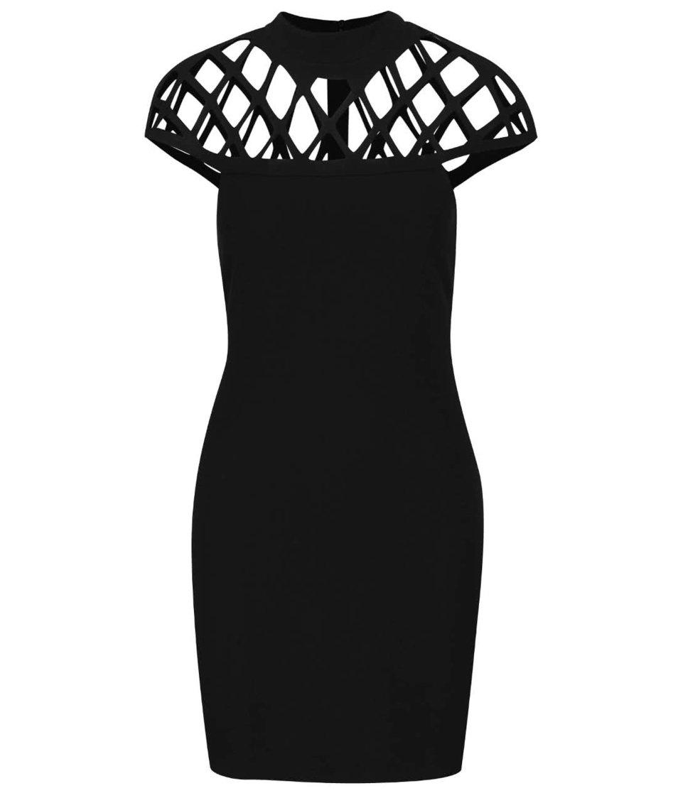 Černé mini šaty s prořezávaným dekoltem AX Paris