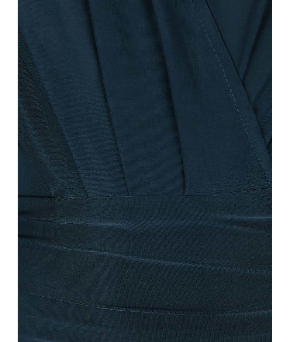 Petrolejové šaty s překládaným výstřihem AX Paris
