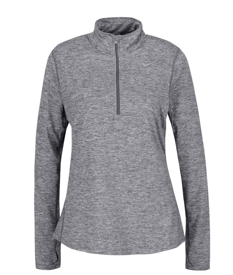 Šedé žíhané dámské tričko s dlouhým rukávem Nike Dry Element