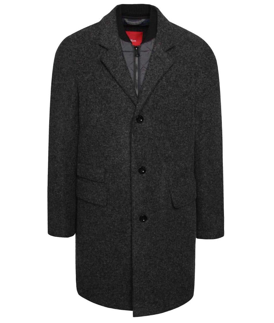 Šedý pánský kabát s dvojitým límečkem s.Oliver