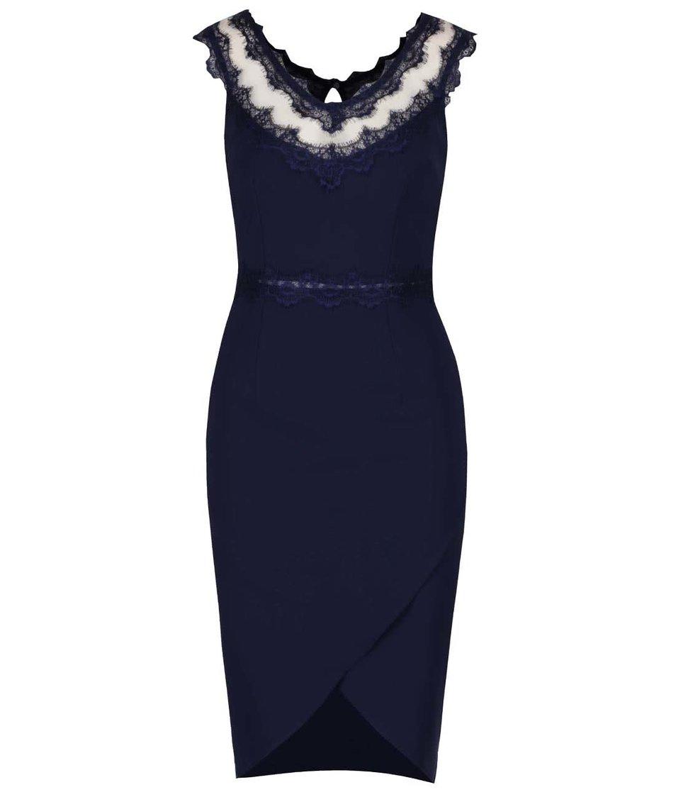 Tmavě modré šaty s krajkovaným dekoltem Little Mistress