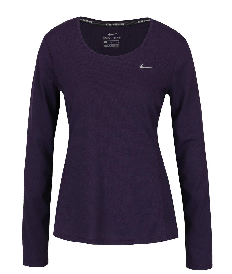 Fialové sportovní tričko s dlouhým rukávem Nike Contour